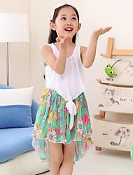 Menina de Vestido Verão Chiffon Sem Manga Menina de