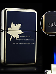 Personalized Gift Maple Design Boutique Metal Black Single Flame Butane Lighter