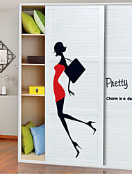 Wall Stickers Wall Decals Style Sexy Beauty Girl Miniskirt High-heeled Shoes PVC Wall Stickers
