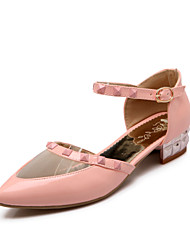 Zapatos de mujer - Tacón Bajo - Tacones / Puntiagudos / Punta Cerrada - Tacones - Boda / Vestido / Casual - Semicuero -Negro / Rosa /
