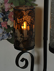 Simplux™ 3*6 Inch Brownness Mosaic Glass with Flameless Led Candle with Timer,Work with 2 C Battery