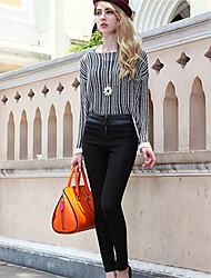 Mulheres Calças Casual Skinny Elastano/Misto de Algodão Micro-Elástica Mulheres