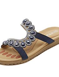 Zapatos de mujer - Tacón Bajo - Comfort - Sandalias - Oficina y Trabajo / Vestido / Fiesta y Noche - Cuero - Azul / Beige