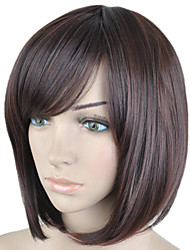 Fashion Brown Color Short Straight  Hair Wig Side Bang  Synthetic Wigs  New Arrival