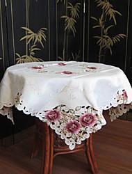 klassieke witte geborduurde tafelkleden vierkant (maat: 130cmx130cm)