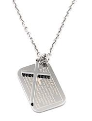 argent Écriture croix collier pendentif en acier inoxydable 316L hommes d'époque
