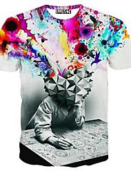 Masculino Camiseta Lycra Estampado Manga Curta Casual / Tamanhos Grandes-Vermelho