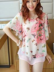 Damen Bluse  -  Blume Chiffon Kurzarm Rundhalsausschnitt
