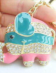Lovely Elephant Key Chain Pendant With Clear Rhinestone Crystals
