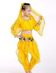 Belly Dance Performance Outfits Children's Performance Chiffon/Polyester Coins Outfit Red/Yellow Kids Dance Costumes