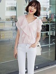 Women's Sexy Cute Micro Elastic Short Sleeve Regular Blouse (Chiffon)