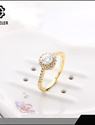 Fashion Crystal Gold Plate Zircon Statement Rings