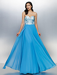 Vestido - Azul Linha-A Curação Longo Chiffon