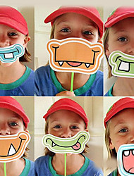 6 pcs/set Mouth Shape Photo Props for Party Children's Day(6 Style Mix)