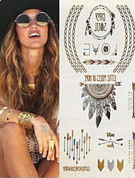 Sex Glitter Gold Flash Tribal Totem Necklace Jewellery Tattoo Stickers Temporary Tattoos(1 pc)