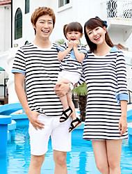 С короткими рукавами Ткань средней плотности Слабоэластичная Семья Одежда наборы , С короткими рукавами , Хлопок , Лето