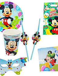 40pcs Mickey Mouse Baby Birthday Party Decorations Kids Evnent Party Supplies Party Decoration 6 People Use