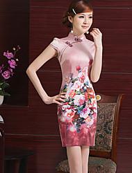 shuki Women's Sexy/Bodycon High-Neck Short Sleeve Dresses (Satin)