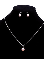 Upscale Fashion Jewelry Set Necklace with Earrings In Shell Pearls