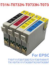 bloom®t0731n-t0734n cartouche d'encre compatible pour Epson T10 / T20 / T21 / T30 / T40W / TX100 / TX200 / TX210 pleine encre (4 couleurs