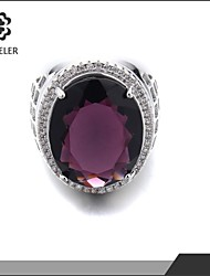 Platinum Plated Amethyst Cubic Zirconia Statement Ring