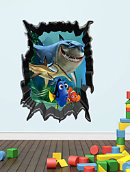 3D Wall Stickers Wall Decals, Style The Sea of Sharks in The World PVC Wall Stickers