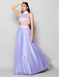Homecoming Formal Evening Dress - Lilac A-line/Princess High Neck Floor-length Tulle