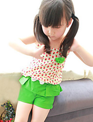 Girl's Wear Lovely Fruit Print Sleeveless Elastic Strap Tank Top and Solid Fashion Shorts With Bow Decor