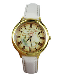 Women's The Roses Style PU Band Quartz Analog Wrist Watch (Assorted Colors)