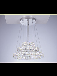 Round LED Pendant Lights Modern Lighting Cool White Three Rings D203040 Clear K9 Large Crystal Ceiling Lights Fixtures