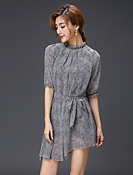 Women's Casual Micro-elastic ½ Length Sleeve Asymmetrical Dress (Mesh)