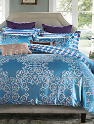 Shuian® Jacquard Satin Bedding Set Flat Sheet 4pcs Duvet Cover Sets Bedclothes Bed Sheet Pillowcase
