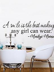 un sourire est le meilleur maquillage décor à la maison Stickers muraux décoratifs zy8129 ADESIVO de parede vinyle amovible stickers