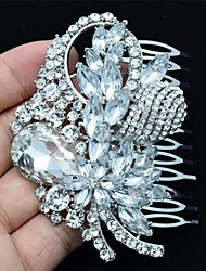 Alloy Clear Rhinestone Women Wedding Prom Flower Girl Leaves Flower Hair Comb