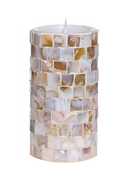 SIMPLUX™ 3*8 Inch Moving Wick Round Wood Mosaic Glass with Flameless LED Candle with Timer,Work with 2xC Batteries
