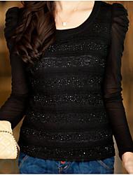 Women's Lace Black Blouse , Round Neck Long Sleeve Lace