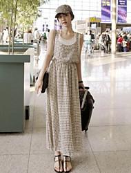 Women's Casual/Print/Maxi  Micro-elastic Plaid leave two splicing Sleeveless Maxi Dress (Chiffon)