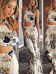 Women's Beach/Print Off-the-shoulder Sleeveless Suits (Others)