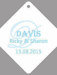Personalized Rhombus Wedding Favor Tags - Initial Family Name White Background (Set of 36)