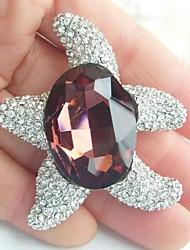 Women Accessories Purple Clear Rhinestone Crystal Brooch Bouquet Art Deco Starfish Brooch Women Jewelry