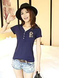 Women's Casual/Plus Sizes Micro-elastic Short Sleeve Regular T-shirt (Cotton)