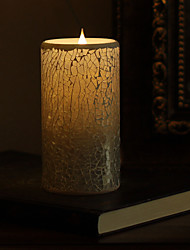 SIMPLUX™ 3*6 Inch Moving Wick White Mosaic Glass with Flameless LED Candle with Timer,Work with 2xC Batteries
