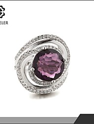 Statement Rings Zircon Cubic Zirconia Platinum Plated Fashion Purple Pink Jewelry Wedding Party 1pc