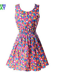 ZAY Women's Pretty Colorful Printing Round Waisted Dress