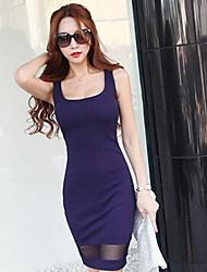 ocasional sem mangas stretchy das mulheres acima do joelho vestido (algodão / spandex)