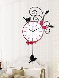 Modern Style Creative Fashion Swing Iron Bird Mute Wall Clock