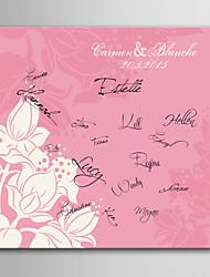 e-FOYER toile de signature frame-fleur personnalisé mariage de corail