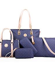 Mulher Bolsas Todas as Estações Couro Ecológico Bolsa de Ombro Tote Conjuntos de saco com para Compras Casual Formal Branco Marron Azul