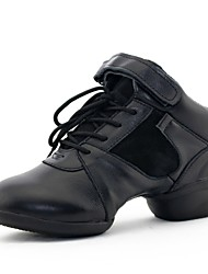 Women's Dance Shoes Jazz Leather Low Heel Black/Red