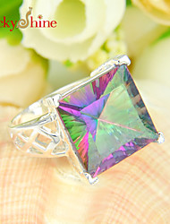 Lucky Shine Unisex Silver Rings With Gemstone Fire Square Rainbow Mystic Topaz Crystal
